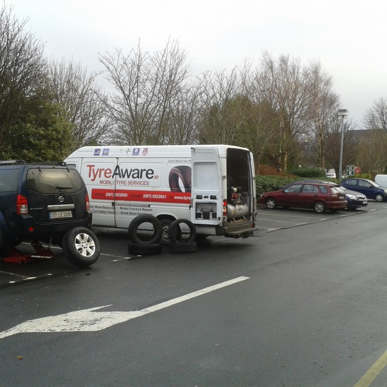 TyreAware mobile unit in Galway City fitting tyres at Ballybane Industrial estate